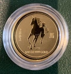 Perth Minth 2002 Year Of The Horse 1/10oz 9999 Gold Coin W/presentation Box