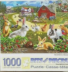 Strawberry Bunnies 1000 Pc Puzzle 20x27 44300 Hens Farm Cows Tractor