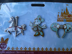Disney Minnie Mouse Main Attraction King Arthurs Carousel Horse Pin Set New