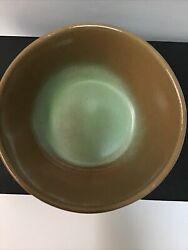 Vintage Frankoma Pottery - Sculpture Bowl Red Clay In The Famous Prairie Green And