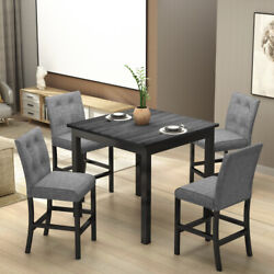 5x Counter Height Dining Set Wood Square Dining Room Table +chairs Stools W/foot