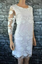 Ex Catalog White Lace 3 / 4 Sleeved Round Neck Formal Event Party Dress Size 6