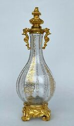 Baccarat Antique Flask Crystal Cut And Bronze Gilded