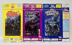 3 Vintage 1997 Batman And Robin Lenticular 3d Canadian Kellogg's Cereal Boxes