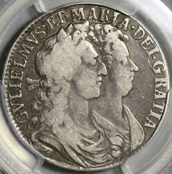 1689 Pcgs Vf 25 William Mary 1/2 Crown Great Britain Silver Coin 21010402c