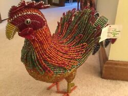 ROOSTER CHICKEN * LARGE HAND BEADED FIGURE * BEADWORX * COUNTRY FOLK ART