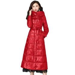 Womenand039s Down Coat Calf Length Thicken Hooded Belt Slim Fit Snow Parka Overcoat L