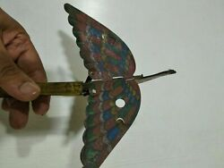 Antique Vintage Tin Toy Rare Old India Bird Squeeze Wings Flap