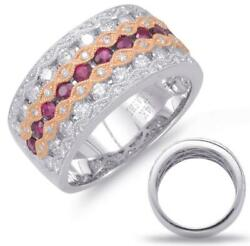 Wide 1.47ct Diamond And Aaa Ruby 14kt White And Rose Gold Infinity Anniversary Ring