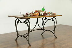 Farmhouse Iron Base Vintage Island, Dining Or Library Table, Mesquite Top 35411