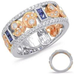 Wide .87ct Diamond And Aaa Sapphire 14k White And Rose Gold 3d Round And Princess Ring