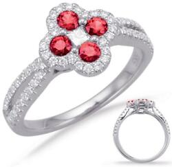 .79ct Diamond And Aaa Ruby 14k White Gold Round And Princess 4 Leaf Clover Love Ring