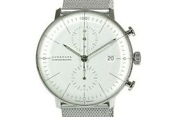 Junghans Max Bill Chronoscope 027 / 4600.00 M Silver Dial Menand039s Watch 40 Mm