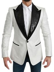 Dolce And Gabbana Blazer White Sequined Slim Fit Jacket It56 / Us46 /xxl Rrp 3600