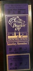 Breeders' Cup '91 Acryllic-encased Ticket For Churchill Downs' Clubhouse