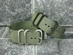 24mm Germany Ballistic Nylon Diver Strap 3 Rings Grey Watch Band For Zulu Gray