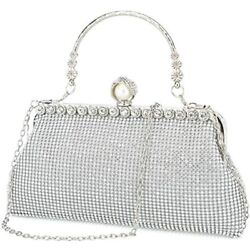 Silver Clutch Purses For Women Evening Bags And Clutches Handbags Purs Silver $41.92