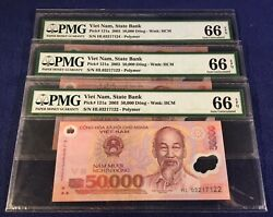 Vietnam 50000 Dong First Issue Year 2003 Pick121a Set Of 3 Pmg Conservative