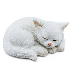 Miniature White Kitten Sleeping Cat Figurine 2.25quot; Long New In Box