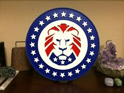Lion Party for American Patriots 8 inch diameter with stand USA Trump Lion $10.00
