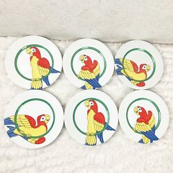 Vtg Fitz And Floyd Parrot In Ring 6 Salad Plates Tropical Jungle Tiki Bar Colorful
