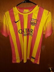 Authentic Nike Fcb Barca Barcelona Striped Football Soccer Jersey Youth Large