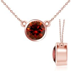 2.50 Carat Real Red Diamond By Yard 14k Rose Pink Gold Bezel Pendant Necklace