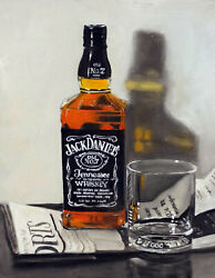 Gallery Wrap Framed Canvas Print Jack Daniels Whiskey Bottle And Glass