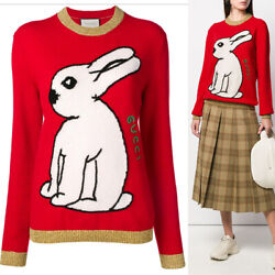 Sz M New 1,200 Woman's Red Wool Knit White Rabbit Embroidered Sweater Top