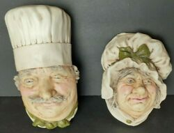 Vintage Lot Of 2 Chef And Sarah Gump Chalkware Faces Wall Hangers