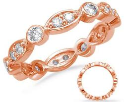 .80ct Diamond 14kt Rose Gold 3d Round And Marquise Shape Eternity Anniversary Ring