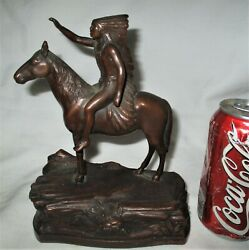 Antique Jennings Brothers Indian Horse Art Statue Sculpture Single J.b. Bookend