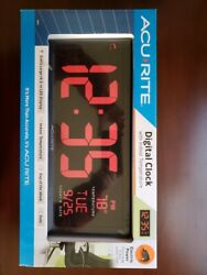 AcuRite 75127DI 14.5 Inch Large Red Oversized LED Clock With Indoor Temperature