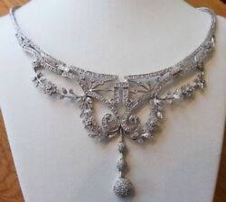 925 Sterling Silver Rose Cut Diamond Necklace Victorian Vintage Look Jewelry