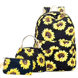 Lmeison Sunflower Backpack for Wemen Teen Girls Floral College Bookbag with and