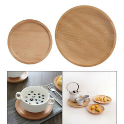 Natural Wooden Plate Round Serving Tray Dessert Food Fruit Dishes Dinnerware