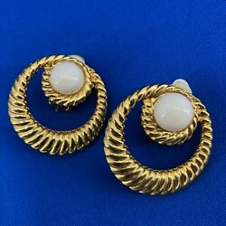 Vintage Clip On Earrings Gold Tone White Cabochon Detail Round Career Or Dressy
