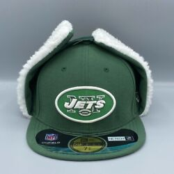 New York Jets Dog Ears Winter Cap 59fifty New Era Green And White Hat