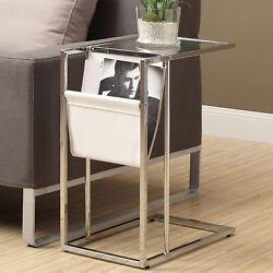Accent Table Chrome Legs Tempered Glass Top Leather Look Magazine Storage Rack