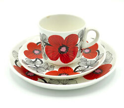 Arabia Esteri Tomula Isokukka Big Flower Coffee Cup With Saucer And Plate Rare