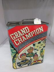 Vintage Advertising Grand Champion Motor Oil Two 2 Gallon Can Tin  A-238