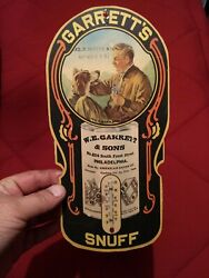 Rare Vintage Paper Garrett's Snuff Advertising Thermometer Tobacco Sign Used