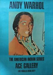 Andy Warhol American Indian Series 1977 Ace Gallery Signed Warhol And Russel Means