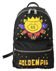 Dolce And Gabbana Bag Nylon Black Golden Pig Of The Year School Backpack Rrp 1500