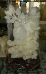 16 Rare 100 Natural Afghan White Jade Hand-carved Flower Bird Exquisite Statue
