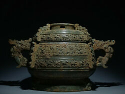 14.8and039and039 Chinese Antique Pot Old Bronze Cooking Vessel Warring States Period