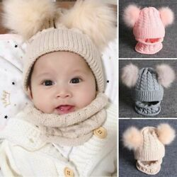 Thick Double Pompoms Baby Hat Fashionable Knitted Winter Kids Cute Warm Beanies