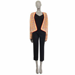 62311 Auth Etro Multicolor Wool Blend Embroidered Open Knit Jacket 42 M