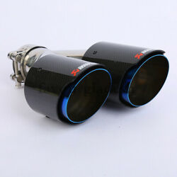 1 X Universal Akrapovic Glossy Carbon Fiber Exhaust Tip Blue Dual Pipe 80-101mm