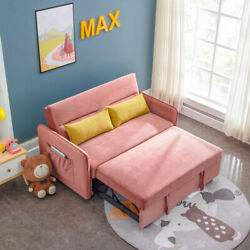 57 Compact Soft Velvet Sofa Bed Pull-out Sleeper With 2 Lumbar Pillow Video